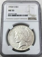 1934-S PEACE SILVER DOLLAR NGC AU 53 BETTER DATE - LOOKS HIGHER GRADE