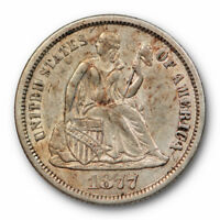 1877 CC SEATED LIBERTY DIME ABOUT UNCIRCULATED TO MINT STATE CARSON CITY 10755