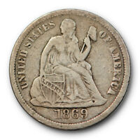 1869 S SEATED LIBERTY DIME  FINE TO EXTRA FINE ORIGINAL US COIN 9362