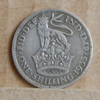 1933 KING  GEORGE V SHILLING 50 SILVER COIN ENGLISH  COIN.