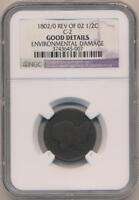 1802/0 REV OF 02 DRAPED BUST HALF CENT. C-2. NGC GOOD DETAILS