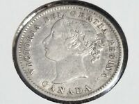 1874 H 10C CANADA TEN CENTS   AU   .925 SILVER   KEY DATE ON