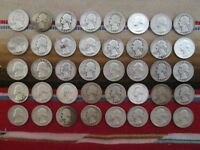 LOT OF  40  MIXED YEARS WASHINGTON SILVER QUARTERS IN CIRCUL