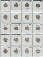 20 CANADA SILVER DIMES 1909 TO 1967 ALL DIFFERENT