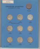 17CANADA SILVERQUARTERS 1953 TO 1968 COMPLETE IN WHITMAN FOL