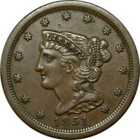 1851/1 1/2C BRAIDED HAIR HALF CENT AU  OLD TYPE COIN HALF PENNY