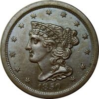 1850 1/2C BRAIDED HAIR HALF CENT MS BU UNC OR AU   OLD TYPE COIN CS128