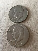 1974 EISENHOWER DOLLAR AVERAGE CIRCULATED COINS SET OF 2 SHIPS FREE