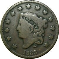 1833 1C CORONET HEAD COPPER LARGE CENT  OLD TYPE COIN CS61