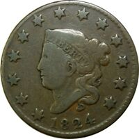 1824 1C CORONET HEAD COPPER LARGE CENT NO PROBLEMS  OLD TYPE COIN CS42