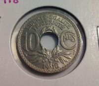 1918 FRANCE 10 CENTIMES COIN - KM866A - SHARP DETAILS  IN3971