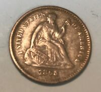 1865 -S. SEATED LIBERTY HALF DIME ,  EXTRA FINE