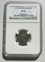 RARE NEW ZEALAND 1935 KGV SILVER SIXPENCE PROOF COIN NGC GRA