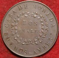 1844 BUENOS AIRES 2 REALES FOREIGN COIN