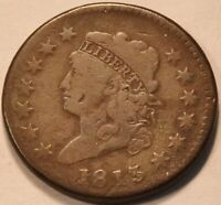 1813 CLASSIC HEAD LARGE CENT MIDDLE GRADE DETAILS SCARCE DAT