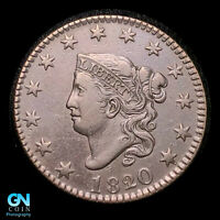 1820/19 CORONET HEAD LARGE CENT  NICE EYE APPEAL   STRONG CO