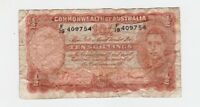 TEN SHILLINGS PAPER BANKNOTE COMMONWEALTH OF AUSTRALIA SHEEH