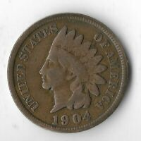 RARE VERY OLD ANTIQUE US 1904 INDIAN HEAD PENNY USA ONE CENT