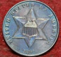 UNCIRCULATED 1860 PHILADELPHIA MINT TONED SILVER THREE CENT