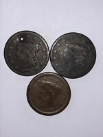 1841 1854 NO DATE LARGE CENT LOT OF 3