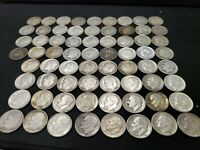 LOT OF  68 CIRCULATED ROOSEVELT DIMES MIXED DATES 90  SILVER