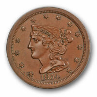 1854 1/2C BRAIDED HAIR HALF CENT UNCIRCULATED MINT STATE BROWN BN 5357