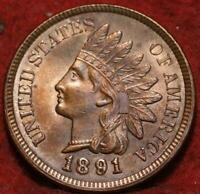 UNCIRCULATED 1891 PHILADELPHIA MINT INDIAN HEAD CENT