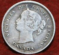 1886 CANADA 5 CENTS SILVER FOREIGN COIN