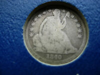 1840-O NO DRAPERY SEATED SILVER DIME - L57