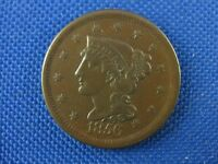 1856 BRAIDED HAIR COPPER LARGE CENT COIN