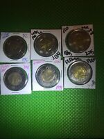 CANADA 2 DOLLARS COINS LOT OF 6 COMMEMORATIVE COINS UNC VG C