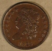 1825 US 1/2 CENT CLASSIC HEAD  EXAMPLE HIGH GRADE  FREE U.S. SHIPPING