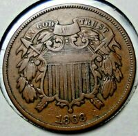 1868 U.S. TWO CENT PIECE NICE CONDITION CIRCULATED COIN