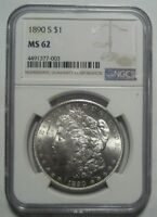 1890-S NGC MINT STATE 62  MORGAN DOLLAR,  LUSTER & DETAILS, SHIPS FREE