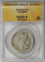1916-D WALKING LIBERTY HALF DOLLAR SILVER 50C GOOD 4 DETAILS ANACS