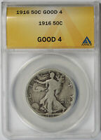 1916 WALKING LIBERTY HALF DOLLAR SILVER 50C G 4 GOOD 4 ANACS