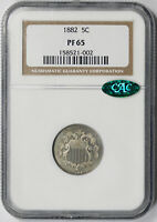 1882 SHIELD NICKEL 5C PROOF PF 65 NGC CAC APPROVED