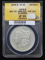 1878 MORGAN DOLLAR ANACS VF-35 VAM-223 TOP 100 CLEANED