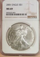2001 AMERICAN SILVER EAGLE, NGC GRADED MINT STATE 69, 99 WHITE COIN, 1 OZ SILVER