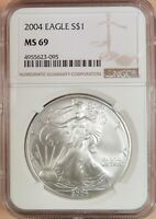 2004 AMERICAN SILVER EAGLE, NGC GRADED MINT STATE 69, WHITE COIN, 1 OZ SILVER 095