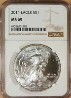 2014 AMERICAN SILVER EAGLE, NGC GRADED MINT STATE 69, WHITE COIN, 1 OZ SILVER