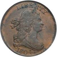 1804 HALF CENT 1/2C SPIKE CHIN. PCGS AU58 CAC.  COIN.