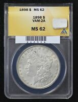 1898 MORGAN DOLLAR ANACS MINT STATE 62 VAM-2A