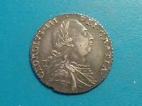 1787 GREAT BRITAIN UNITED KINGDOM KING GEORGE III ANTIQUE SILVER COIN.CHOICE XF