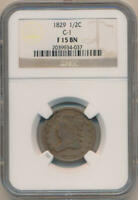 1829 CLASSIC HEAD HALF CENT. C-1 NGC F15 BROWN