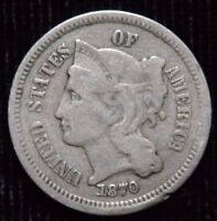 1870 NICKEL THIRD CENTS