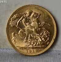 1913 GREAT BRITAIN 1 SOVEREIGN GOLD