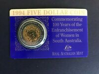 AUST. 1994 $5.00 COIN. MINT COND. 100 YEARS OF ENFRANCHISEME