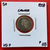 1858 FIRST YEAR CANADA SILVER FIVE 5 CENT COIN   $38 VG F