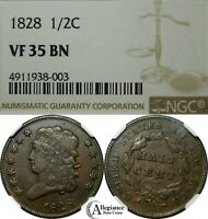 1828 1/2C CLASSIC HEAD HALF CENT NGC VF35 12 STAR VARIETY  OLD TYPE COIN